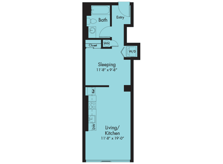 Studio condo in hawaii type m a the collection lofts - Plan studio studio m ...